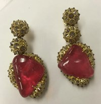 Nicholas Varney Pink Tourmaline Pebble Earring Brown