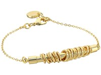 French Connection Tube With Jump Ring Detail On Delicate Chain Bracelet Gold Matte Gold Bracelet