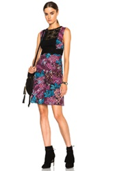 Burberry Prorsum Floral Print English Lace Layered Shift Dress In Floral Abstract Purple