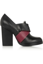 Jil Sander Two Tone Leather Ankle Boots Black