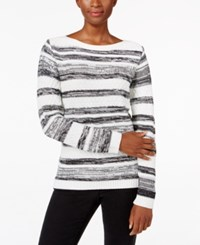 Karen Scott Striped Boat Neck Sweater Only At Macy's Winter White