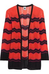 M Missoni Cotton Blend Crochet Knit Cardigan Red