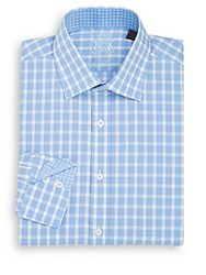 English Laundry Regular Fit Large Check Dress Shirt Light Blue