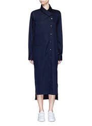 Ffixxed Studios 'Boundary' Asymmetric Button Midi Shirt Dress Blue