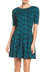 Gabby Skye Women's Jacquard Fit And Flare Dress
