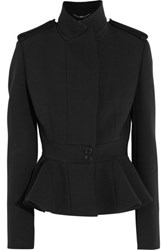 Alexander Mcqueen Stretch Wool Blend Peplum Jacket Black