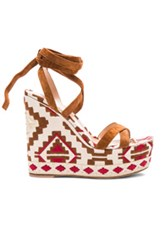 Gianvito Rossi Navajo Suede Wedges In Abstract Neutrals Brown Red
