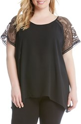 Karen Kane Plus Size Women's Embroidered Lace Sleeve Top