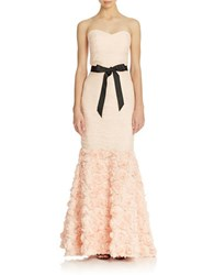 Js Collections Strapless Shirred Mesh Gown With Flowered Skirt Blush