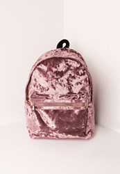 Missguided Velvet Backpack Pink