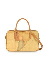 Alviero Martini 1A Prima Classe Geo Printed Medium 'New Basic' Satchel Bag Brown