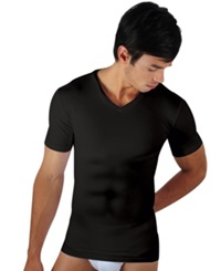 Papi Men's Underwear Six Pack Body Defining V Neck T Shirt Black