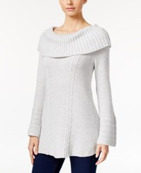 Styleandco. Style Co. Petite Off The Shoulder Cable Knit Sweater Only At Macy's Light Grey Heather