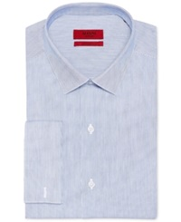 Alfani Red Fitted Performance Blue And White Textured Mini Stripe French Cuff Dress Shirt
