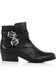 Kanna Ainoa Double Buckle Ankle Boots Black