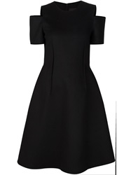 Yang Li Open Shoulder Flared Dress Black