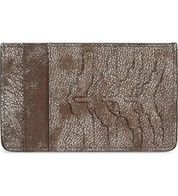 Alexander Mcqueen Rib Cage Leather Card Holder Silver