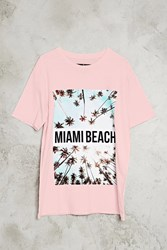 Forever 21 Miami Beach Graphic Tee Pink White