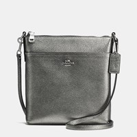 Coach Courier Crossbody In Polished Pebble Leather Silver Gunmetal