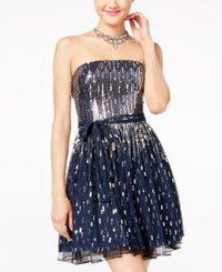 City Studios Juniors' Strapless Sequined Fit And Flare Dress Navy Silver