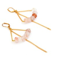 Salome Rebel Collection Rose Quartz Earrings Gold Pink Purple