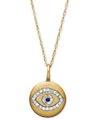 Macy's Diamond Evil Eye Pendant Necklace In 14K Gold 1 10 Ct. T.W.