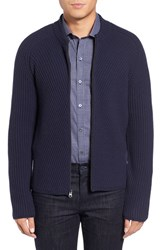 Zachary Prell Men's Zip Wool And Cashmere Cardigan Navy