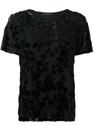 Etro Velvet Applique Detail Blouse Black