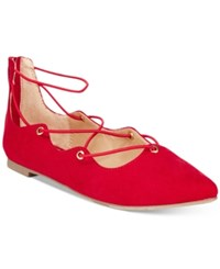 Material Girl Ibby Lace Up Flats Only At Macy's Women's Shoes Red