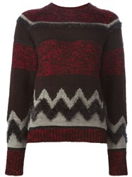 Kolor Intarsia Knit Sweater Red
