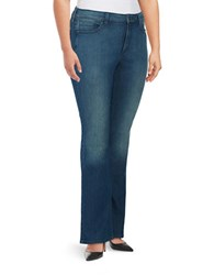 Nydj Plus Bootcut Faded Jeans Blue