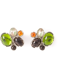 Rochas Vintage Lime Cabochons Earrings Green