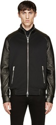 Cnc Costume National Black Quilted Leather Sleeved Bomber