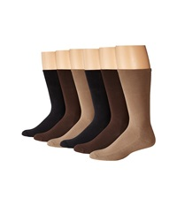Ecco Socks Cushion Mercerized Cotton Sock 6 Pack Black Taupe Brown Men's Crew Cut Socks Shoes Multi