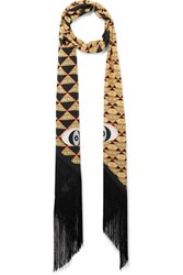 Givenchy Fringe Trimmed Scarf In Printed Silk Yellow