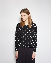 Comme Des Garcons Drop Sleeve Polka Dot Tee Navy And Off White