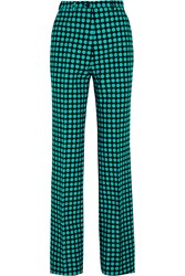 Bottega Veneta Polka Dot Wool Wide Leg Pants Blue