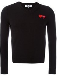 Comme Des Garcons Play V Neck Fine Knit Jumper Black