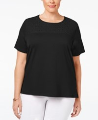Alfred Dunner Plus Size Lace Yoke T Shirt Black