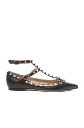 Valentino Rockstud Grained Leather Cage Flats In Black