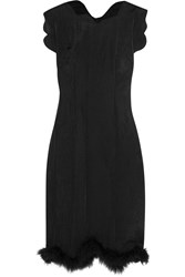Simone Rocha Feather Trimmed Mesh Dress Black
