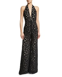 Cushnie Et Ochs Halter Neck Wide Leg Dot Jumpsuit Black