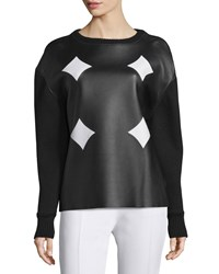 Cnc Costume National Ribbed Trim Combo Top Black White Women's