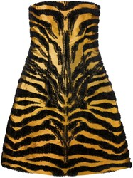 Alberta Ferretti Tiger Pattern Strapless Dress Yellow And Orange