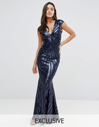 Club L Cap Sleeve Maxi Dress With Fishtail In Patterned Sequin Navy
