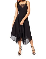 Miss Selfridge Lace Inset Chiffon Dress Black
