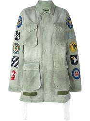 Off White Patch Embroidered Field Jacket Green