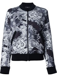 Diesel Tiger Print Bomber Jacket Grey