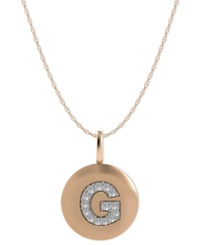 Macy's 14K Rose Gold Necklace Diamond Accent Letter G Disk Pendant