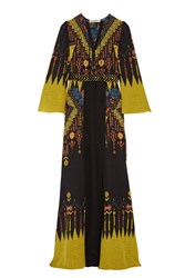 Etro Belted Printed Silk Crepe De Chine Maxi Dress Black